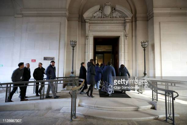 Federal employees return to work at the Environmental Protection Agency headquarters January 28 2019 in Washington DC Furloughed employees returned...