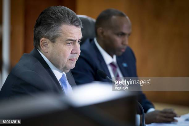 Federal Foreign Minister Sigmar Gabriel SPD meets Hassan Ali Khaire Prime Minister of Somalia and they speak to media representatives on May 01 2017...