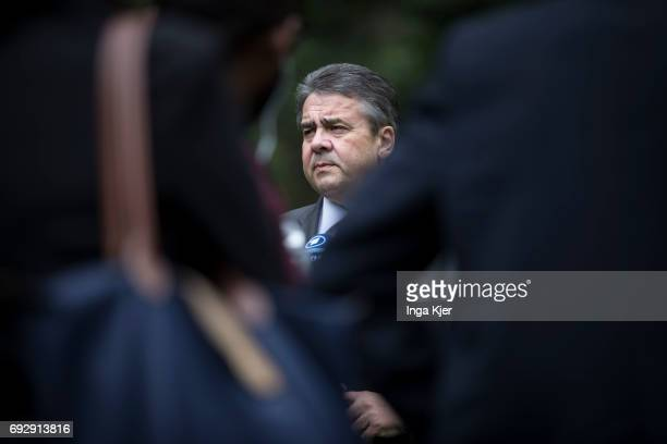 Federal Foreign Minister Sigmar Gabriel SPD speaks to media representatives in the German embassy in Ethiopia on May 02 2017 in Addis Ababa Ethiopia