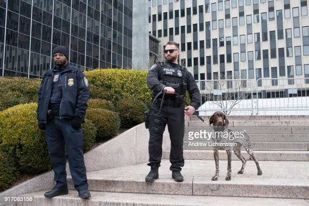 Federal Homeland Security police guard 26 Federal Plaza during a New Sanctuary rally to celebrate immigrant activist Ravi Ragbir's suspended...