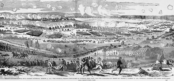 Federal infantry under General John Pope mass near Centreville Virginia for an assault on the Confederate line on August 30 during the Second Battle...