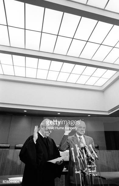 Federal Judge Byron Skelton administers the oath of office for Special Prosecutor Leon Jaworski on Capitol Hill Washington DC November 5 1973...