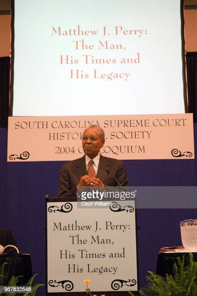 US Federal Judge Matthew J Perry during a South Carolina Supreme Court Historical Society event in his honor entitled 'Matthew J Perry the Man his...