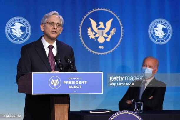 Federal Judge Merrick Garland delivers remarks after being nominated to be U.S. Attorney general by President-elect Joe Biden at The Queen theater...