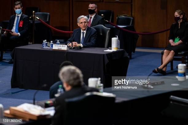 Federal Judge Merrick Garland testifies before a Senate Judiciary Committee hearing on his nomination to be US Attorney General on Capitol Hill on...