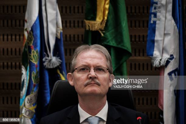 Federal judge Poul Erik Dyrlund attends a refund agreement ceremony at the Second Region Federal Court in Rio de Janeiro Brazil on March 21 2017 Rio...