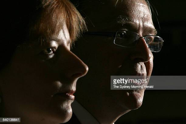 Federal Labor politicians Kevin Rudd right and Julia Gillard address a press conference after announcing they will challenge Opposition Leader Kim...