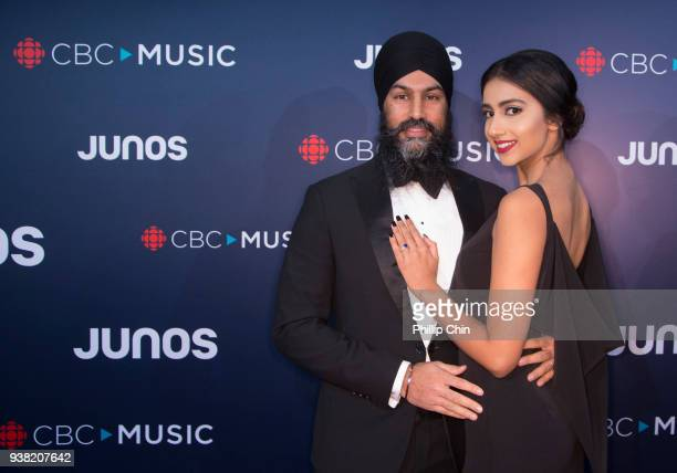 NDP Federal Leader Jagmeet Singh and Gurkiran Kaur attend the red carpet arrivals at the 2018 Juno Awards at Rogers Arena on March 25 2018 in...