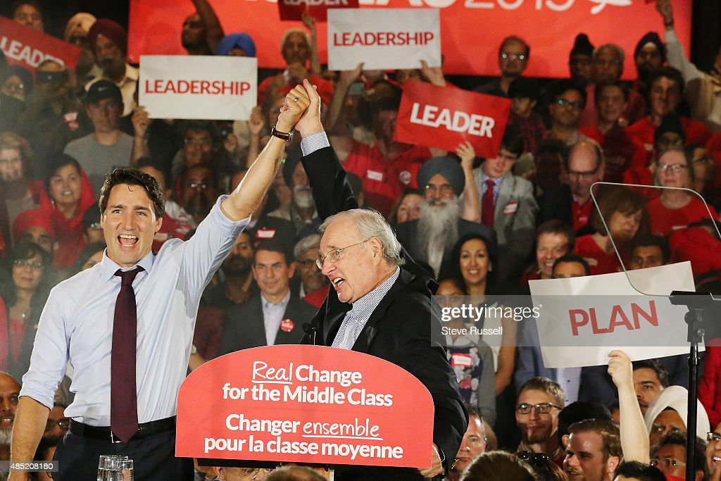 BRAMPTON, ON- AUGUST 25 - Federal Liberal Leader Justin Trudeau campaigns with former Prime Minister Paul Martin during the Canadian Federal Election at the Embassy Grand Convention Centre in Brampton. August 25, 2015.