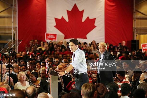 BRAMPTON ON AUGUST 25 Federal Liberal Leader Justin Trudeau campaigns with former Prime Minister Paul Martin during the Canadian Federal Election at...