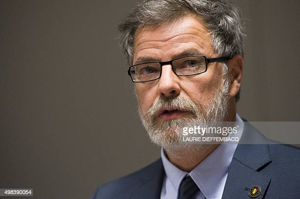 Federal magistrate Eric Van der Sypt is pictured during a press conference of the public prosecutor's office after police interventions in Brussels...