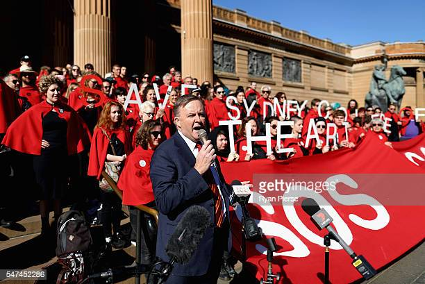 Federal Member for Grayndler Anthony Albanese addresses art students and protesters at the Gallery of NSW on July 15 2016 in Sydney Australia Sydney...