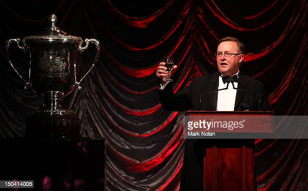 Federal Member for Grayndler Minister for Infrastructure and Transport Anthony Albanese toasts the Bledisloe Cup during the 2012 Bledisloe Ball at...