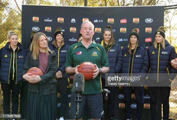 Federal Minister for Youth and Sport Senator Richard Colbeck speaks during the WNBL 40th Season Launch at Parliament House Basketball Court on...