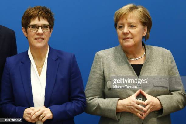 Federal Minister of Defence and CDU leader Annegret KrampKarrenbauer and German Chancellor Angela Merkel arrive for a meeting of the CDU leadership...