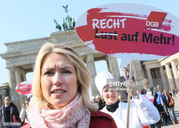 Federal Minister of Family Affairs Manuela Schwesig speaks on the occasion of 'Equal Pay Day' in front of the Brandenburg Gate in Berlin, Germany, 20...