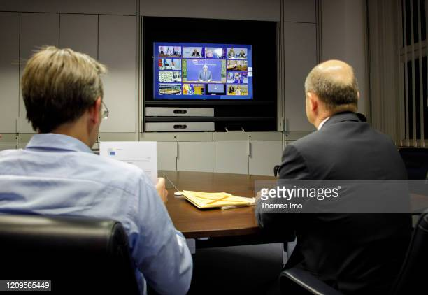 Federal Minister of Finance Olaf Scholz SPD and State Secretary Joerg Kukies particpiate in a video conference of the Euro Group on April 09 2020 in...