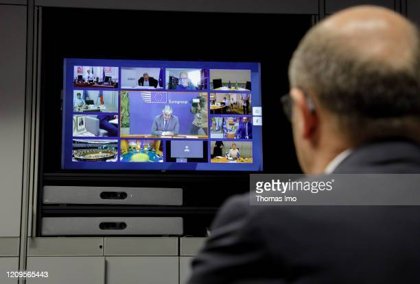 Federal Minister of Finance Olaf Scholz SPD makes a press statement before a video conference of the Euro Group on April 09 2020 in Berlin Germany...