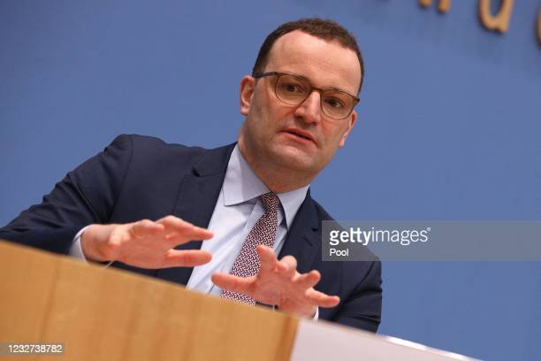 Federal Minister of Health Jens Spahn , speaks at the weekly Coronavirus press conference on May 7, 2021 in Berlin, Germany.