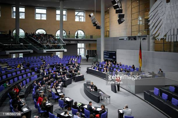 Federal Minister of Justice Christine Lambrecht SPD speaks at the Bundestag on November 28 2019 in Berlin Germany