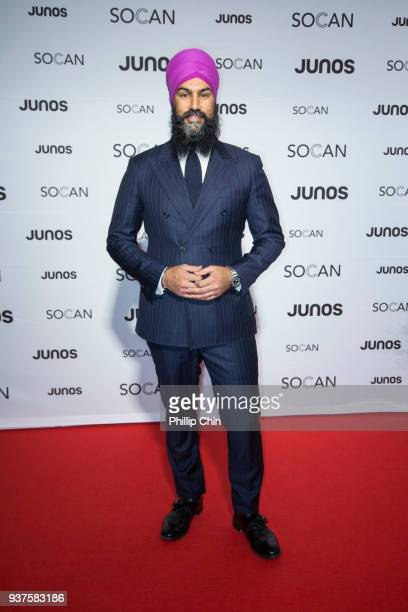 Federal NDP Leader Jagmeet Singh attends the red carpet at the Juno Gala Dinner and Awards at the Vancouver Convention Centre on March 24 2018 in...