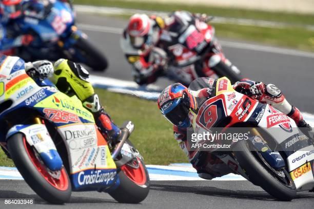 Federal Oil Gresini Kalex rider Jorge Navarro of Spain negotiates a corner during the moto2class third practice session of the Australian MotoGP...