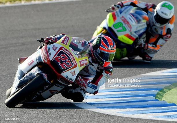 Federal Oil Gresini Moto2's British rider Sam Lowes leads Tasca Racing Scuderia Moto2's Australian rider Remy Gardner during the Moto2class second...