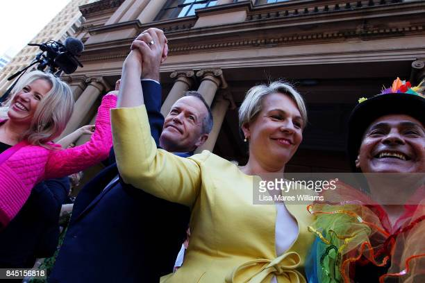 Federal Opposition Leader Bill Shorten and Deputy Leader of the Opposition Tanya Plibersek speak during a rally for marriage equality ahead of a...