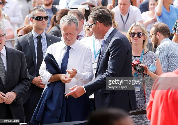 Federal Opposition leader Bill Shorten and Premier Daniel Andrews at a memorial held for victims of the Bourke Street Mall Attack at Federation...