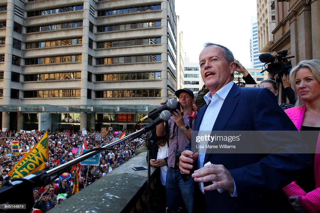 Federal Opposition Leader Bill Shorten speaks during a rally for marriage equality ahead of a national postal survey on September 10, 2017 in Sydney, Australia. The High Court handed down its decision on Thursday to allow the government's proposed postal ballot survey to go ahead. Ballots with the question 'Should the law be changed to allow same-sex couples to marry?' will be sent to households across Australia on September 12.