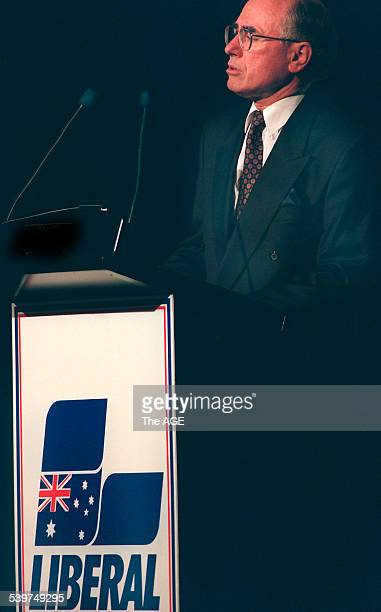 Federal Opposition Leader John Howard addresses fellow party members at a Liberal luncheon at the Hyatt Hotel 13 December 1995 THE AGE Picture by RAY...