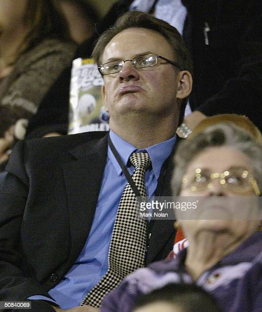 Federal opposition leader Mark Latham enjoys the action during the round ten NRL match between the StGeorge Illawarra Dragons and the Canterbury...