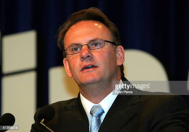 Federal Opposition Leader Mark Latham speaks during the Kangaroos Grand Final Breakfast at the Melbourne Exhibition Centre September 25 2004 in...