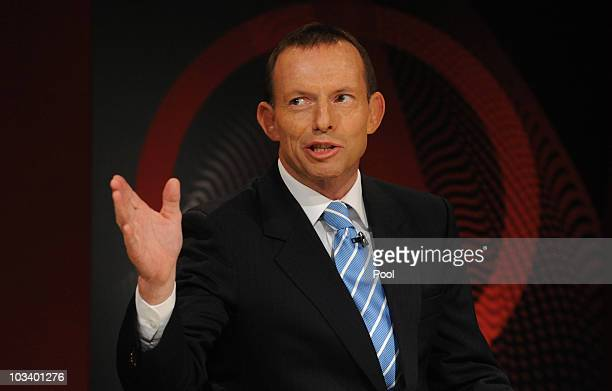 Federal opposition leader Tony Abbott during the ABC's Q A television program at the Casula Powerhouse on August 16 2010 in Sydney Australia Voters...