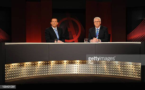 Federal opposition leader Tony Abbott with presenter Tony Jones during the ABC's Q A television program at the Casula Powerhouse on August 16 2010 in...