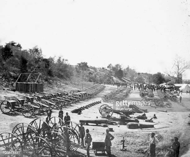 Federal ordnance artillery and mortar pieces at the depot Broadway Landing VA 1865