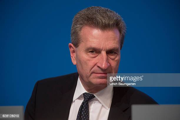 Federal party conference of the CDU in Essen Guenther Oettinger EUCommissioner for Digital Economy and Energy during the party conference