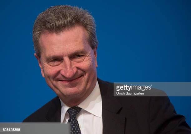 Federal party conference of the CDU in Essen. Guenther Oettinger, EU-Commissioner for Digital Economy and Energy, during the party conference.