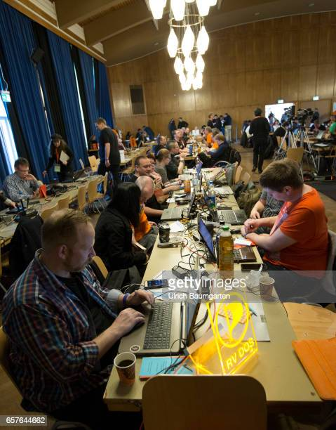 Federal Party Conference of the Pirate Party in Duesseldorf Controlled chaos with delegates computers etc in the event hall