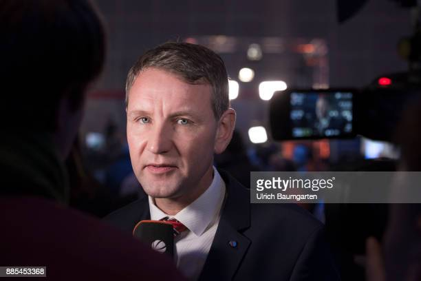 Federal Party Congress of Alternative for Germany . Bjoern Hoecke during an interview.