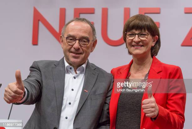 Federal party convention of the SPD in Berlin Norbert Walter Borjans and Saskia Esken after the election to SPD party chairmanship slogan New