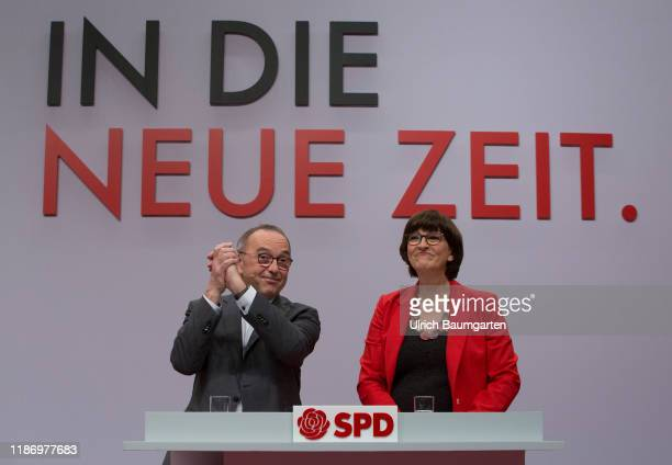 Federal party convention of the SPD in Berlin Norbert Walter Borjans and Saskia Esken after the election to SPD party chairmanship slogan In The New...
