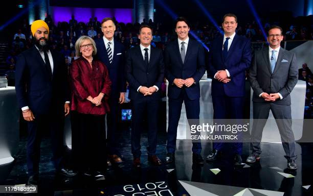 Federal party leaders NDP leader Jagmeet Singh Green Party leader Elizabeth May People's Party of Canada leader Maxime Bernier host Patrice Roy from...