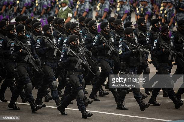 Federal Police, during the Military Parade of the 205 of Independence of Mexico in the Zocalo Square at Mexico City, Mexico on September 16, 2015.