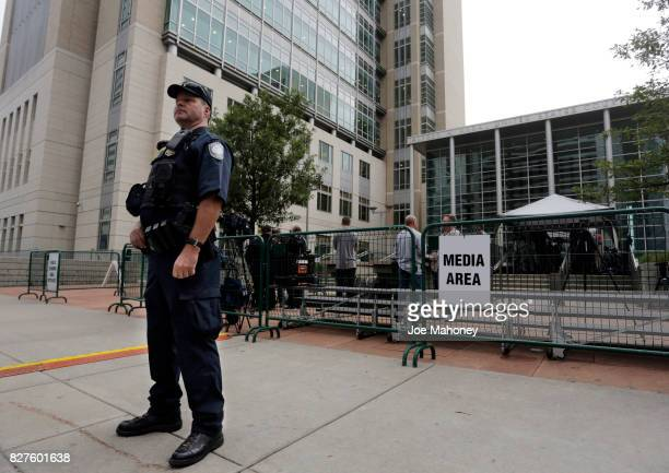 A federal police officer stands guard during the civil case for Taylor Swift vs David Mueller at the Alfred A Arraj Courthouse on August 8 2017 in...