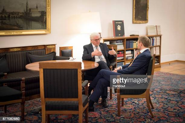 Federal President FrankWalter Steinmeier and FDP Chairman Christian Lindner at the beginning of their meeting in Schloss Bellevue after the...