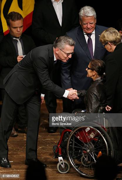 Federal President Joachim Gauck and German Minister of the Interior Thomas de Maiziere awards javelin thrower Martina Willing the Silbernes...