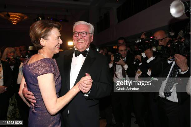 Federal President of Germany Frank Walter Steinmeier and his partner Elke Buedenbender dance during the 68th Bundespresseball at Hotel Adlon on...