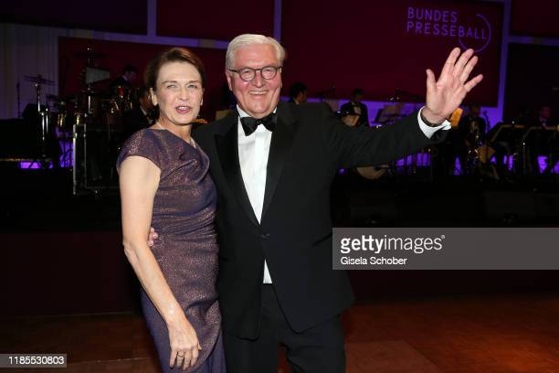 Federal President of Germany Frank Walter Steinmeier and wife Elke Buedenbender dance during the 68th Bundespresseball at Hotel Adlon on November 29...