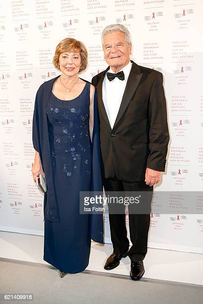 Federal president of Germany Joachim Gauck and his girlfriend Daniela Schadt arrive at the 23rd Opera Gala at Deutsche Oper Berlin on November 5 2016...